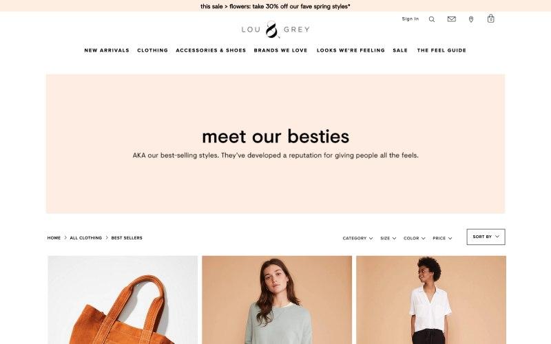 Lou & Grey catalog page screenshot on May 11, 2019