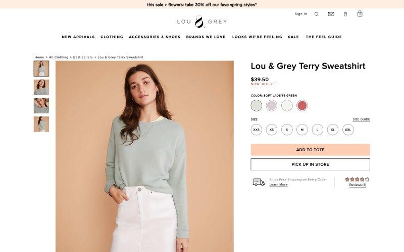 Lou & Grey product page screenshot on May 11, 2019