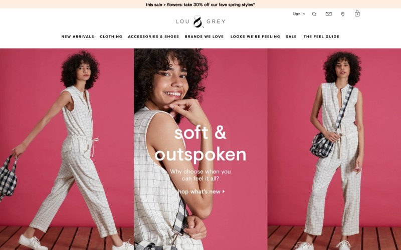Lou & Grey home page screenshot on May 11, 2019