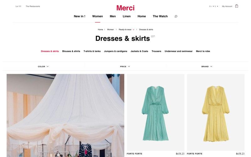 Merci catalog page screenshot on May 8, 2019