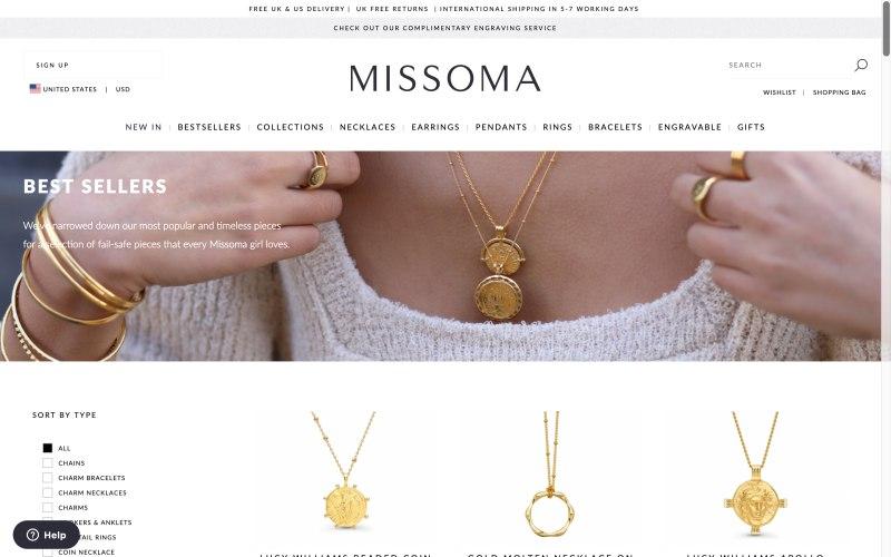 Missoma catalog page screenshot on May 1, 2019