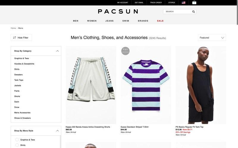 Pacsun catalog page screenshot on May 10, 2019