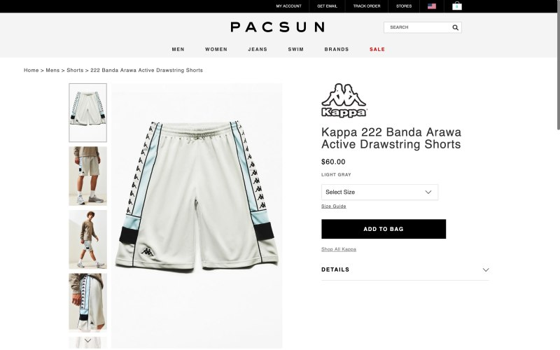 Pacsun product page screenshot on May 10, 2019