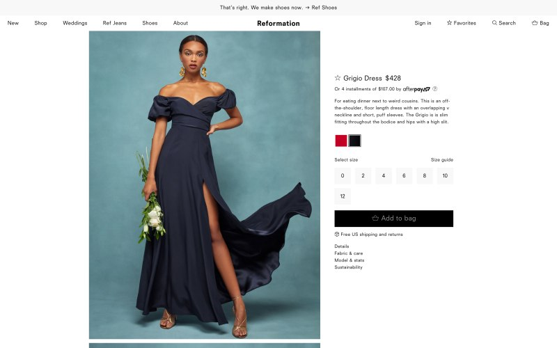 Reformation product page screenshot on May 14, 2019