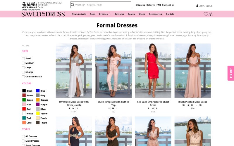 Saved by the Dress catalog page screenshot on May 14, 2019
