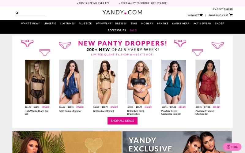 Yandy home page screenshot on May 15, 2019