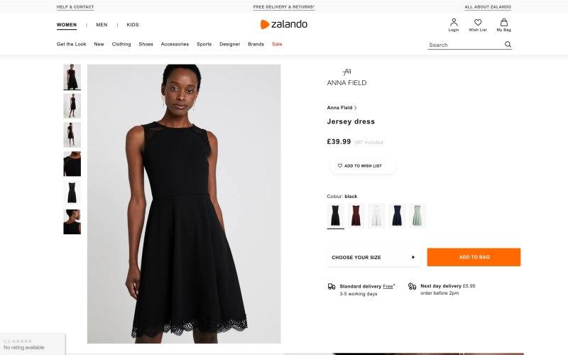 Zalando product page screenshot on May 17, 2019