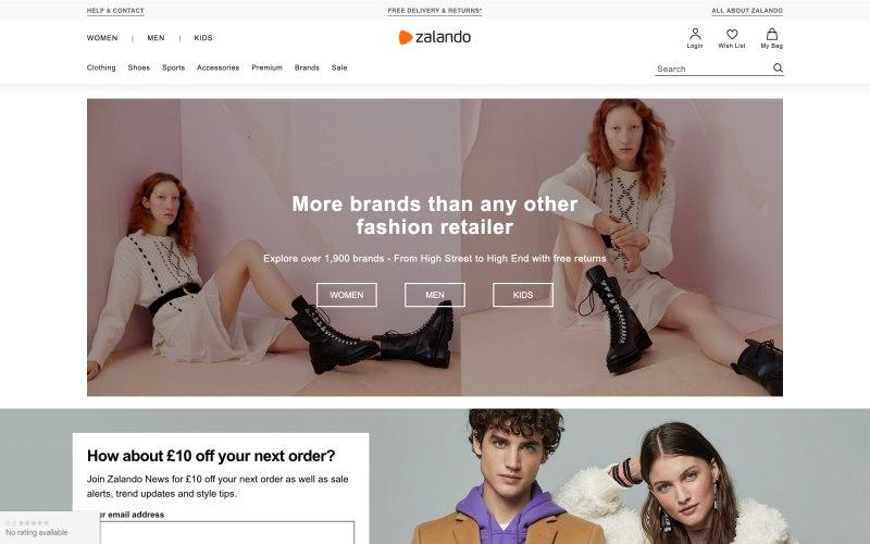 Zalando home page screenshot on May 17, 2019